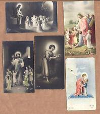 SET of 5 old vintage PHOTO HOLY CARDs: JESUS with CHILDREN / BEGGAR. Lot