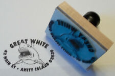 Custom Oval Shark rubber stamp for Address, Ex Libris or Bookplate by Amazing