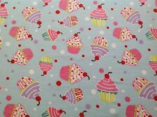 ~ FLANNEL~ Pastel~Cupcake~Blue~Pink~Quilting~Cakes~Fabric~Flannelette~Girls~ FQ