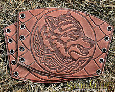 A Pair Leather Cuff LARP Bracers Armor Wolf Celtic Spiritual Vikings Magic Scale