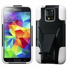 For Samsung Galaxy S5 Black White Hard Silicone Hybrid Case Cover w/stand