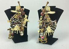 """Vintage Lunch at the Ritz """" Country Music """"  Clip On Dangle Earrings"""