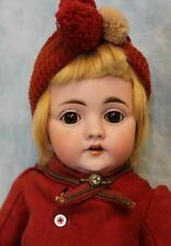 "16"" Antique German Bisque Kestner 143 Character Doll Cute Old Red Outfit ca.1900"