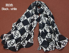 Nice Women fashion silk scarf foulard chiffon scarves shawl Black Brand New