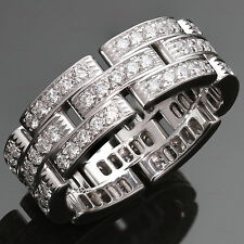 CARTIER Maillon Panthere Diamond White Gold Band Ring Size 59