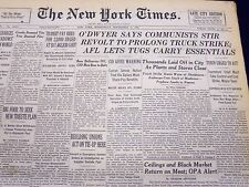 1946 SEPT 11 NEW YORK TIMES NEWSPAPER O'DWYER SAYS COMMUNISTS STIR REVOLT- NT 51