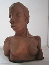 NUDE AFRICAN AMERICAN WOMAN CLAY POTTERY BUST SCULPTURE - OUTSTANDING !!