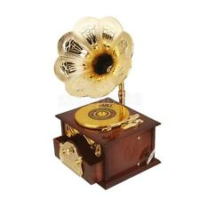 Vintage Gramophone Phonograph Design Mechanical Music Box Clockwork Toy Gift