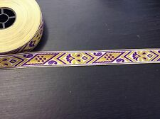 1m Gold jacquard embroidered ribbon lace applique motif trimming decor Indian