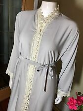 Fancy Khaleeji Abaya Arabic Button Up Half Open Jilbab Dubai Made Size L 58