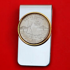 US 2001 Rhode Island State Quarter BU Uncirculated Coin Two Toned Money Clip New