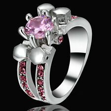 Size 6 Rhodium White Gold Platinum Plated Wedding Engagement Ring Pink Topaz