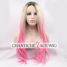"""Ombre Dark Roots To Blonde Pink Synthetic Hair Lace Front Wig Heat Resistant 24"""""""