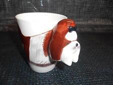 Old Vtg SHIH TZU COFFEE CUP Mug Relief Sculpture Dog Animal