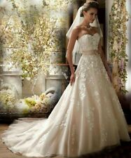 UK White/Shallow Champagne Wedding Dress Size Bridal Gown Size 6-16