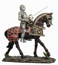 Large Medieval Knight Sword Armored Suit Heavy Cavalry Horse Figurine Statue
