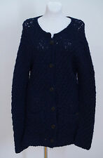 WOMENS MOODS OF NORWAY CARDIGAN JACKET WOOL BLEND NAVY SIZE L LARGE VGC