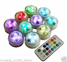10 REMOTE SUBMERSIBLE 3 LED LIGHTS WEDDING PARTY TABLE CENTREPIECE CHRISTMAS UK