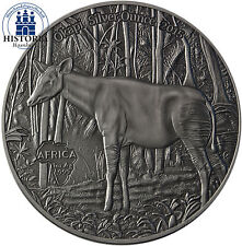 Africa serie: Congo 1000 franchi CFA 2015 antique finish Okapi OUNCE SILVER