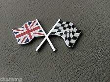 Cross flags badge new superb quality  Union Jack , chequered flag.  Bd4-c4