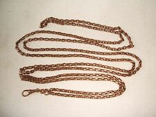 "Antique Victorian Rolled Rose Gold Muff  Long Chain marked  - ""18ct Rolled Gold"""