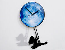 Girl Swinging on the Moon - Pendulum Wall Clock