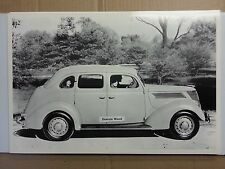 """12 By 18"""" Black & White PICTURE 1937 Ford 4 door trunkback side view"""