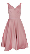 New-Pink Satin Party Dress-Flared Full Skirt-Tulle Petticoat-Prom/Dance/Formal-8
