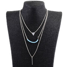 Fashion Multilayer Blue Diamante Necklace Pendant Bohemian Style Jewelry