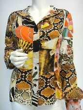 CAVALLI HiEnd Designer Blouse S-M multi-color elastic Italy cotton New unused