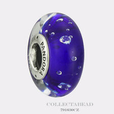 Authentic Pandora Sterling Silver Murano Dark Blue Effervescence Bead 791630CZ