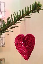 5x Red Heart Christmas Tree Decoration Bauble Tinsel Hanging New Handmade Set
