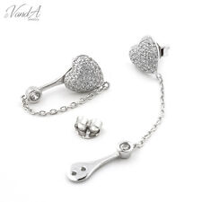 Sterling silver 925 CZ Micro pave dangle chain Heart new fashion earrings E30
