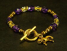 """Bull Dog Charm Toggle 7"""" Bracelet Gold Tone Glass Purple Amethyst & Clear Color"""