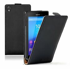 Ultra Slim BLACK Leather Flip Case Cover Pouch For Sony Xperia M4 Aqua experia
