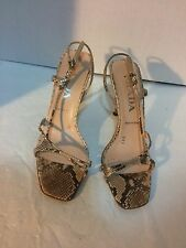 PRADA SNAKESKIN PYTHON STRAPPY SANDALS SIZE 36 1/2 6 1/2 MADE IN ITALY $895