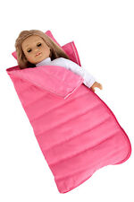 Slumber Party - Doll Accessories for American Girl Pink Sleeping Bag with Pillow