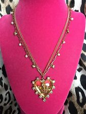 Betsey Johnson Vintage Ice Princess Crown Lucite Heart Crystal AB Pearl Necklace