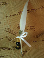 Vintage Fashion Quill Goose Feather Dip Pen & ink Bottle for wedding gift White