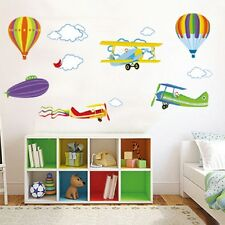 Art DIY Wall Decal Sticker Removable Hot Air Balloon Airplanes Clouds Decoration