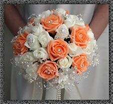 Bridal Posy Bouquet  Peach and Ivory Roses  with crystal flower embellishments