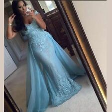 Blue Mermaid Long 2017 Formal Evening Gown Prom Dresses Celebrity Pageant Dress