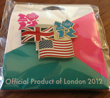 London 2012 USA Flag and Great Britain Flag and London Logo Olympic Pin