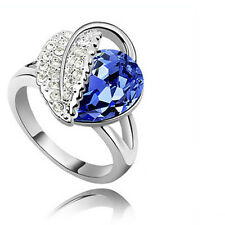 Amazing Royal Blue Crystal Leaf Ring Silver Tone Medium Size O 17 mm FR71D - 7