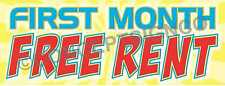 3'X8' FIRST MONTH FREE RENT BANNER Outdoor Signs LARGE Rentals Apartments Condos