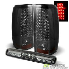 Smoked 99-02 Chevy Silverado Gmc Sierra Led Tail Lights +Led Cargo Brake Lamp