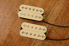 HUMBUCKER PICKUP SET CREAM/AGED WHITE ALNICO 5 MAGNETS FOUR CONDUCTOR WIRED