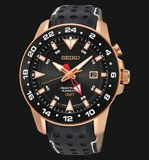 NEW MEN'S SEIKO SPORTURA KINETIC GMT SAPPHIRE ANALOG SPORTS WATCH SUN028P1