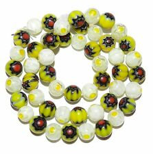 G3481f Yellow & White 8mm Round Assorted Millefiori Flower Glass Beads 15""