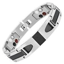 Homme Puissant Titanium & Carbone Fibre Bracelet Magnétique - Arthrite Douleur